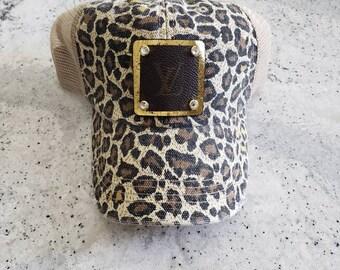 Upcycled authentic Louis Vuitton Bag Canvas on Leopard print trucker cap hat 3acf58c02e0f