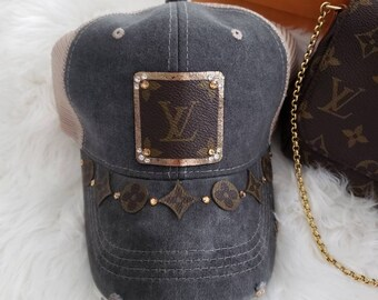 3362b964c31 Ultimate lv! Upcycled authentic Louis Vuitton Bag Canvas on trucker cap hat
