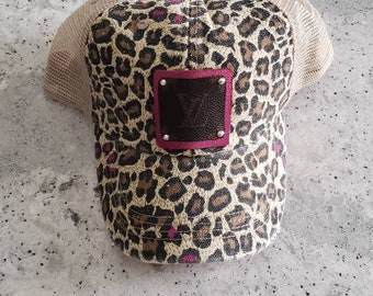 Upcycled authentic Louis Vuitton Bag Canvas on bright pink Metallic leather  on Leopard print trucker cap hat with ab swarovski accents 8280721ac470