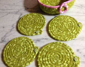 Coiled bowl and coasters, batik and clothesline