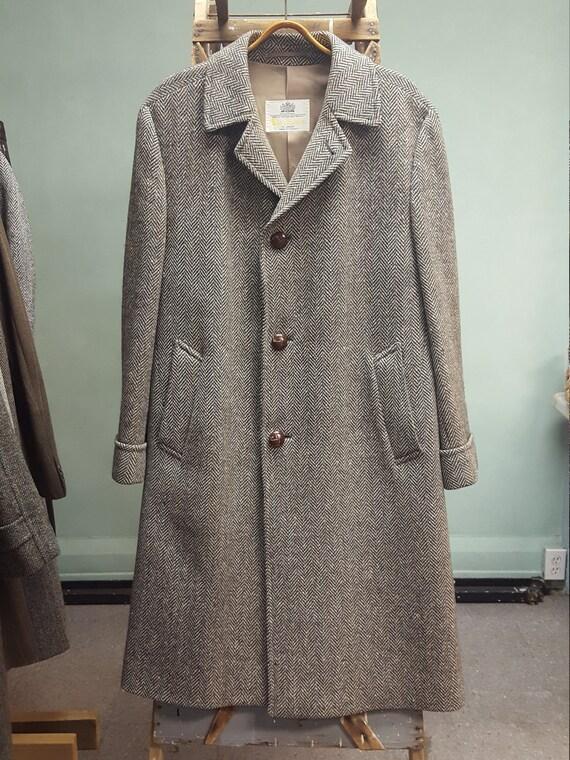 Aquascutum 44 R Tweed Top Coat Over Coat