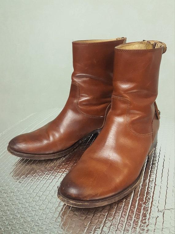 Frye Short Equestrian Boots Booties Dark Tan Size