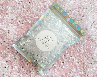 Clear Acrylic Diamonds, 600Pcs, Pink Scatter Gems, Clear Scatter Gems, 10mm, 120g, Wedding Table Scatter Confetti Crystals