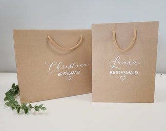 bridesmaid gift bag personalised Recycled luxury gift bag / eco wedding Kraft gift bags / eco friendly / wedding gift bag / bridal party