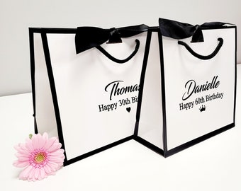 personalised gift bag /  luxury white gift bag with ribbon / birthday gift bag special birthday bag party bags black giftbags boutique bag