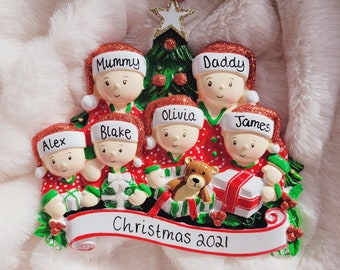 Personalised Christmas ornament /  family of 6 / personalised family ornament/ personalised bauble / christmas decoration / Christmas gift