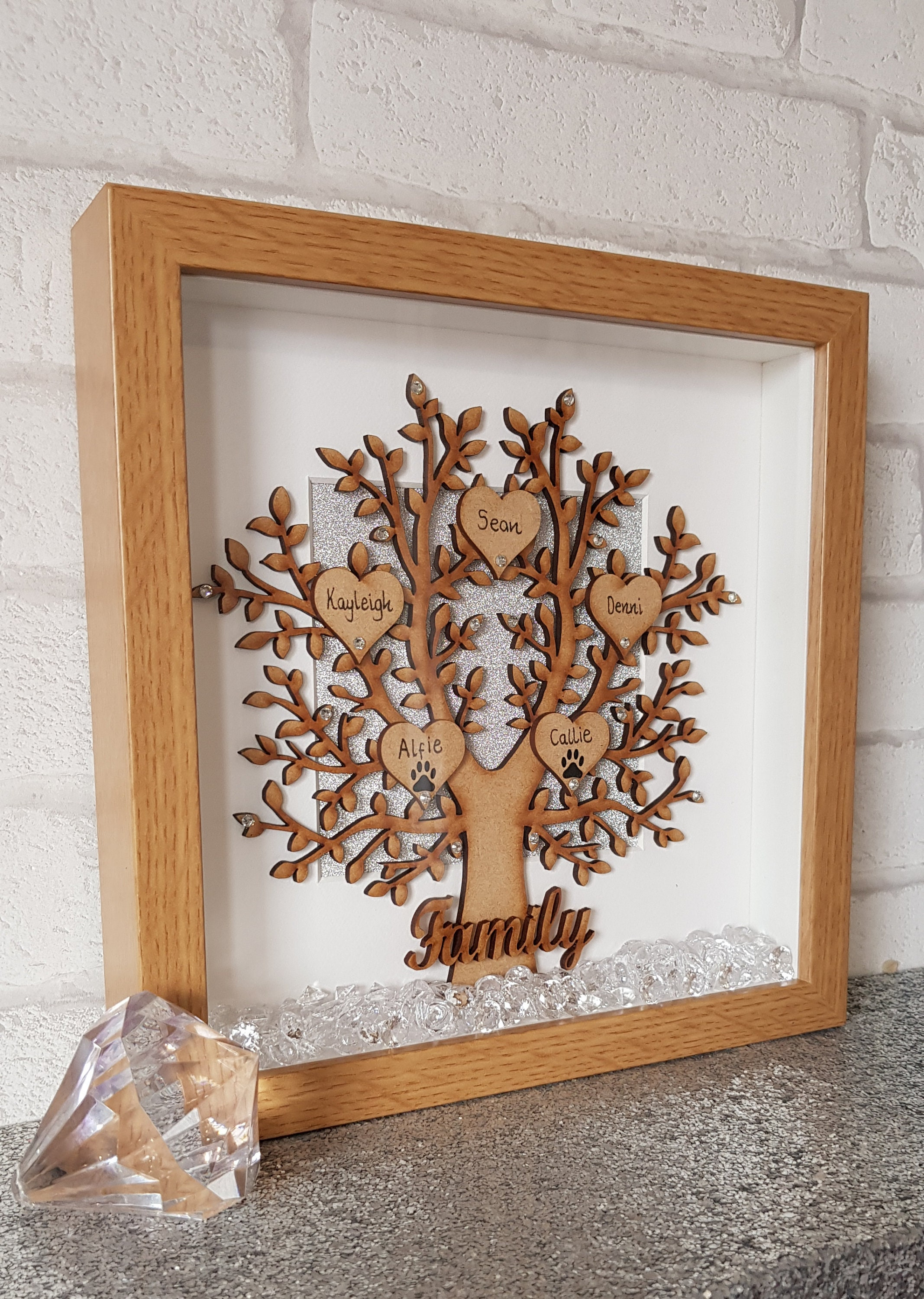 family tree frame wooden family tree wooden tree box etsy. Black Bedroom Furniture Sets. Home Design Ideas