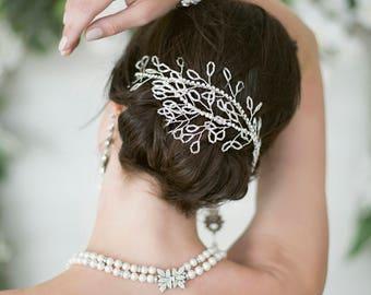 Bridal Beaded Hair Vine - Dainty Laurel Vine Hairband