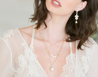 Bridal Necklace - Delicate Chain & Pearl Pendant -  Sterling or Gold, Swarovski Crystals, Freshwater Pearls - Ready to Ship