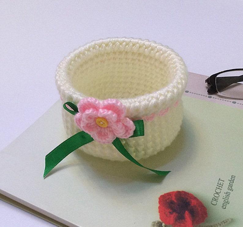 White Jewelry Storage Box,Trinket Storage Box,Dressing Table Decoration Amigurumi Hand-knitted Storage Box Baskets Crochet Storage Box