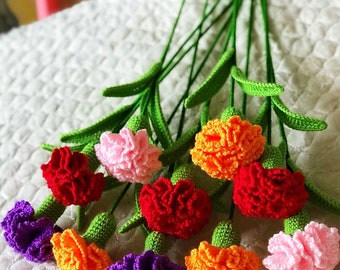 Crochet Carnations Flower Bouquet , Red Pink Purple Orange Simulation Carnations Flowers 5 Pcs  ,Mother's Day Gift ,Home Table Decoration