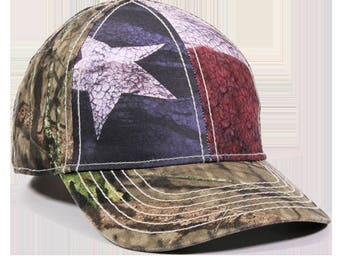 Texas Flag Hat / Flag Hat / Camo Hat / Mossy Oak Break-Up Country Camo / Blank Hat