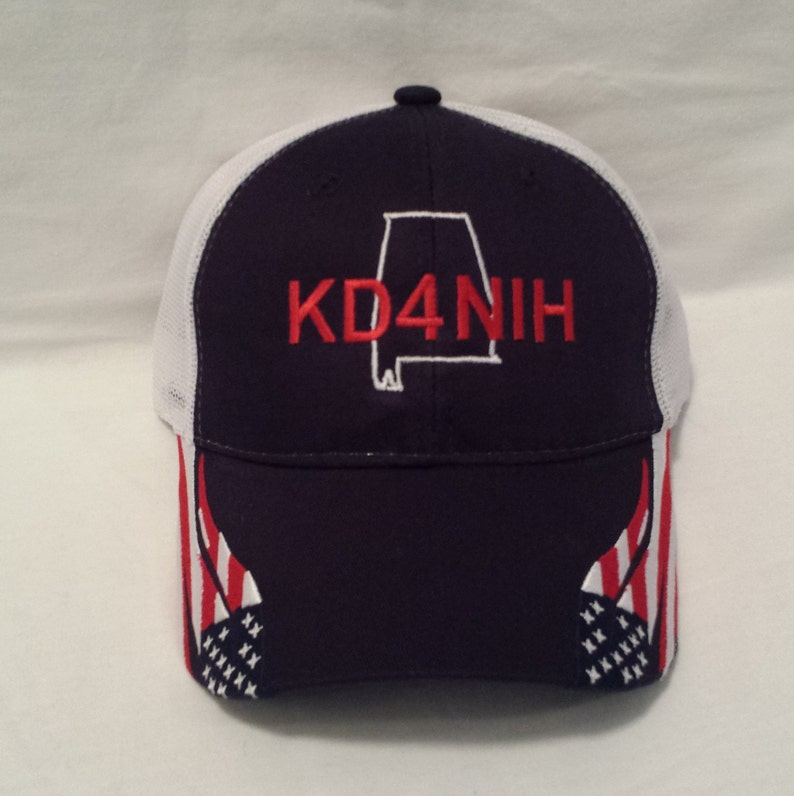 2860337454d65 Embroidered Call Sign Patriotic Hat with Your State Outline