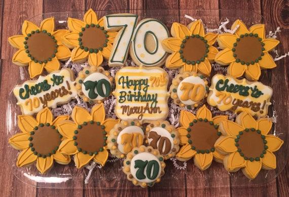 Girasole Tema Compleanno Zucchero Biscotti Biscotti Di Etsy