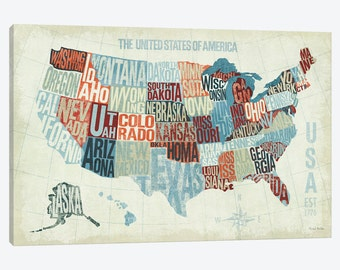 Usa Map Print Etsy