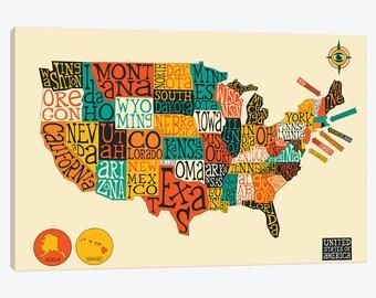 Cute Usa Map.United States Map Art Print Kids Usa Map Illustrated Usa Etsy