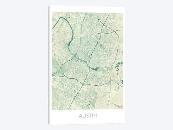 Austin Texas City Map Poster Print Austin Texas City Street | Etsy on