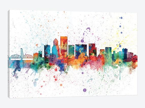 Portland Oregon Skyline Canvas Wall Art Print Portland Home Decor