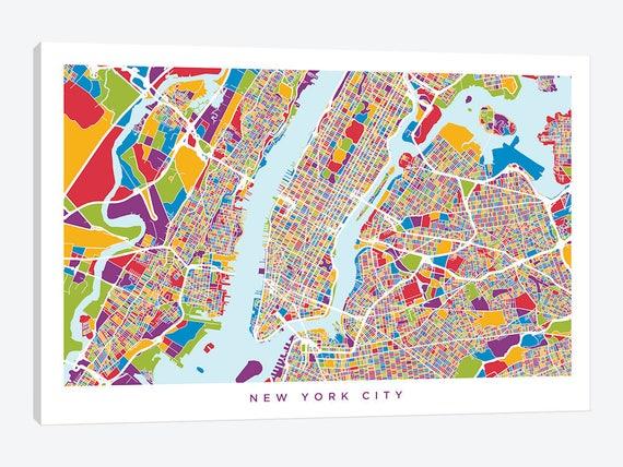 New York City Map New York City Street Map New York City Pop Etsy