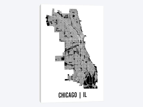 Chicago Map Poster Chicago Street Map Chicago Map Art | Etsy on