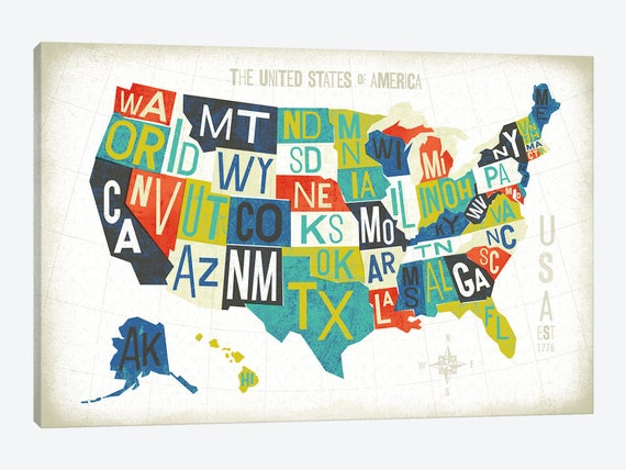 United States Map Art, United States Poster, Illustrated USA Map Print, US  Map Typography, Canvas Wall Art Home Decor, Travel USA Map Gift