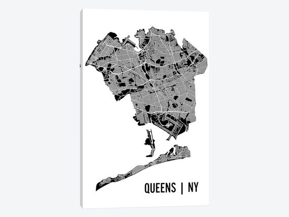 Map New York Queens Neighborhoods.Queens New York Map Queens Neighborhood Map Black White Road Map New York City Street Map Large Canvas Wall Art