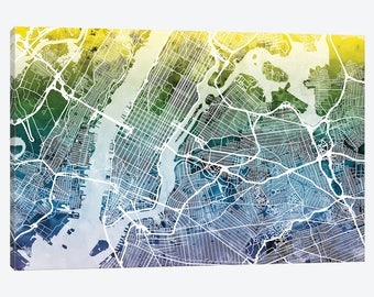 new york city street map new york city map canvas wall art gradient