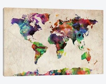 World Map Art Print, Watercolor World Map Poster, Unique Map of the World Canvas Art Print, Travel Map Modern Vintage Office Home Wall Decor