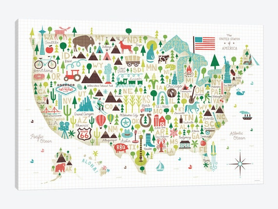 Kids Usa Map.United States Map Art Print Kids Usa Map Illustrated Usa Etsy