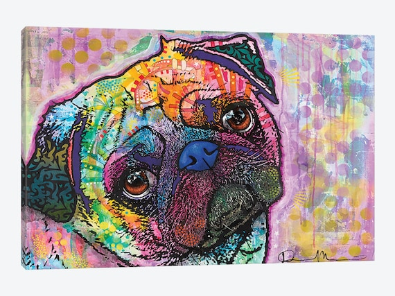 PUG DOG CANVAS WALL ART PICTURE PRINT VARIETY OF SIZES FREE UK P/&P