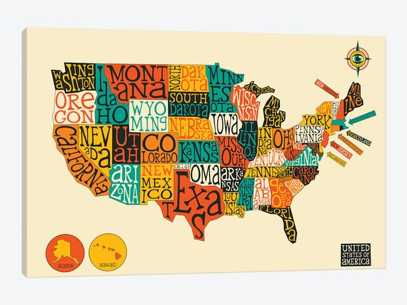 United States Map, United States Map Kids, US Typography Map, USA Map  Print, Canvas Wall Art, Home Kids Baby Room Wall Decor Abstract Poster