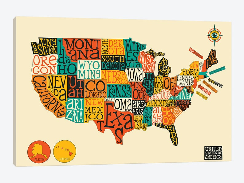 United States Map United States Map Kids US Typography Map | Etsy