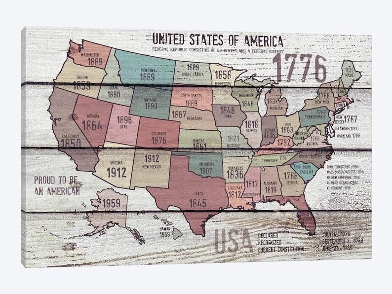 United States Map Decor.United States Map Print Usa Map Decor Vintage United States Etsy