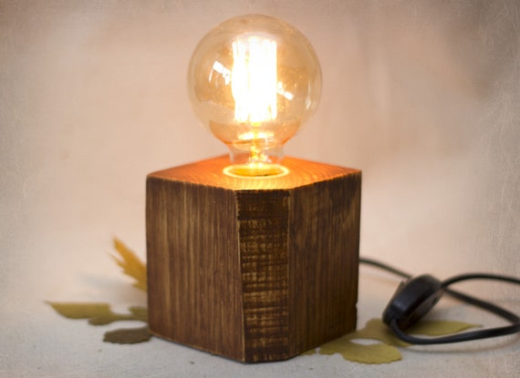 Lampe Bois De Palette Lampe Edison Lampe Cube En Bois