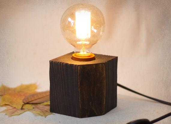 Lampe Edison Lampe Cube Depaletre Minimalisme Feu De Chevet Recyclage Bois