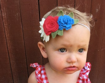 Boho baby flower crown, Red Flower headband, Red and Blue flower crown, Boho summer Flower Crown, Festival Headband, Flower Crown,
