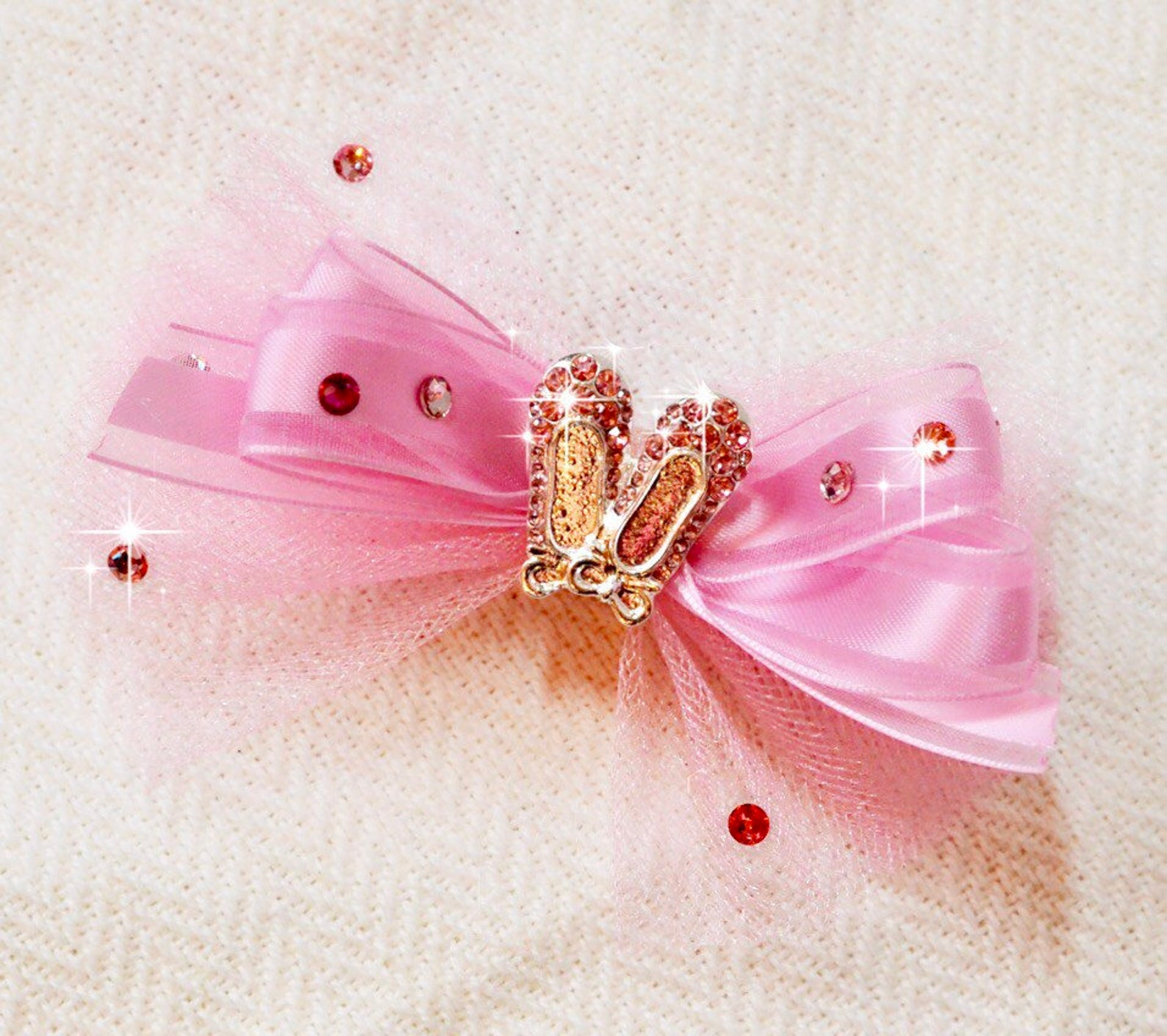 ballet shoes with authentic swarovski top knot dog bow