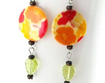 Floral Shell Earrings, Wood Jewelry, Wood Earrings, Czech Glass Leaf Beads, Red Earrings, Yellow Earrings, Orange Earrings, Floral Earrings
