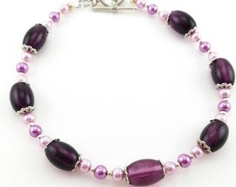 Purple and Glass Pearl Bracelet, Purple Bracelet, Glass Pearl Bracelet, Beaded Bracelet, Beaded Jewelry, Violet Glass Bead Bracelet,