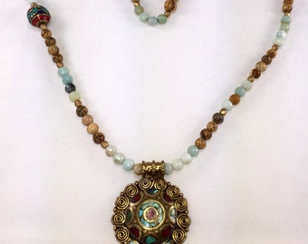 Cool Tibeten Style Beaded Necklace with Brass, Turquoise & Carnelian Pendant!