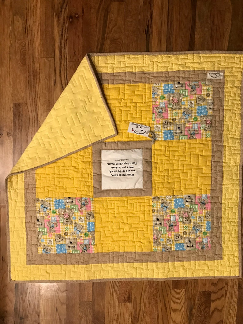 Yellow Scripture Quilt With Bears