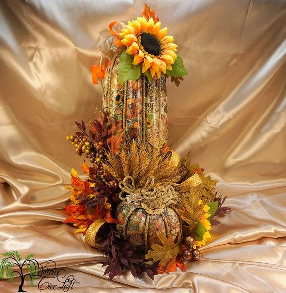 Shabby Chic, Fall Pumpkin, Pumpkin, Decoupage Pumpkin Decor, Thanksgiving,  Fall Decor, Fall Home Decor, Decoupage, Sunflower, Fall Harvest