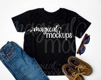 Download Free Toddler Shirt Mockup Black - Kid T-Shirt Flat Lay - Youth Boys PSD Template