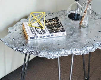 Side table/ accent table / coffee table/ silver table / hairpin legs / end table / unique furniture