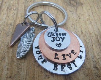 Graduation keychain, Graduation gift, Gift for graduate, High school graduation, hand stamped keychain, Live your best life, Retirement