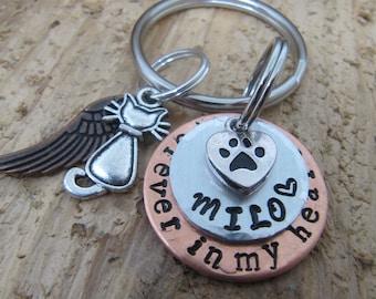 Cat Memorial key chain,hand stamped pet key chain, ,cat memorial key chain,sympathy for loss of cat,pet lover memorial, cat memorial