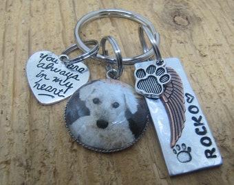 Pet photo keychain, Photo memorial keychain, Cabochon keychain,   Dog memorial, Cat memorial,  Pet memorial key chain,  Picture keychain