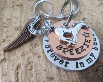 Horse Memorial key chain,hand stamped horse key chain,horse memorial, loss of horse, death of horse, horse lover gift, Memorial for  horse