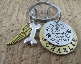 Dog memorial, Pet memorial,  Pet memorial key chain, loss of pet, Sympathy gift,  loss of pet, No longer by my side  but forever in my heart