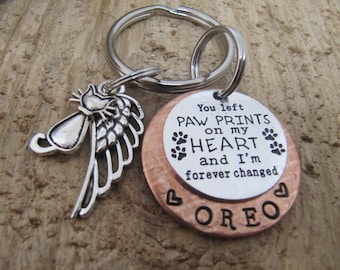 Cat memorial, Pet memorial, Pet memorial key chain, loss of pet, Sympathy gift, loss of pet, You left paw prints on my heart, Death of cat